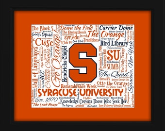Syracuse University 16x20 Art Piece - Beautifully matted and framed behind glass