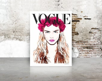 Magazine Cover print, size choice, fashion wall decor, Cara, flower wreath, fashion illustration watercolor poster