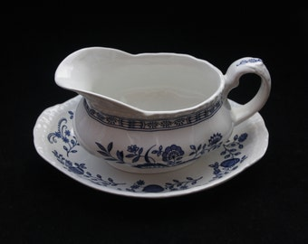 Enoch Wedgwood Blue Heritage Gravy Boat and Saucer