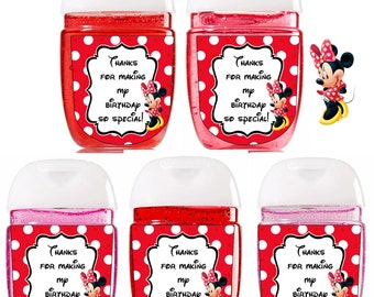 New Bath and Body Works Hand Sanitizer / Minnie Mouse/ Baby Shower Favors / Bath and Body Works / Sanitizer Labels /Red Polka Dots Minnie