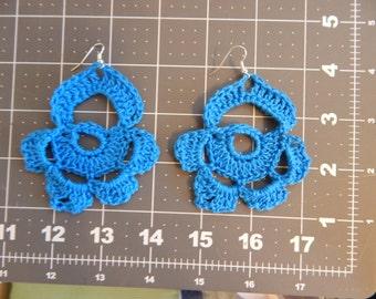 Blue Flower Earrings; Big Dangly Earrings; Crocheted Earrings; Handmade Earrings; Large Lightweight Earrings; Crocheted Jewelry