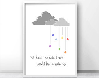 Nursery quote art, Digital nursery art, Clouds nursery, Gray nursery print, Kids wall art print, Rainbow art print, Printable kids art print