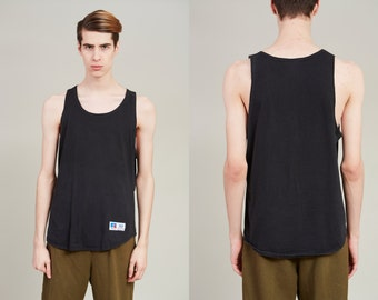 1990s Russell Athletic Black Cotton Sleeveless Tank Top • L