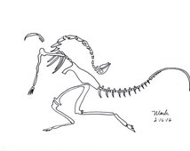 Flying Dinosaur Fossil drawing, print, Chiselwit shop