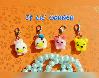 Handmade Donald Daisy Winne the Pooh Piglet donut Tsum Tsum resin clay gift bag phone charm accessories