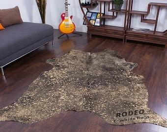 Large Bold Speckled Brown Acid Wash Cowhide Rug 6'2 x 5'4 ft -1386
