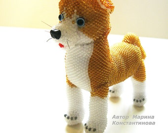 "Pattern / Tutorial Beaded Ornament -Master class to create ""Puppy Ghosh"""