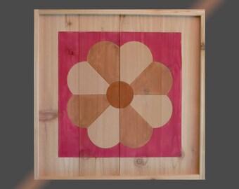 2x2 Cedar Barn Quilt (Dresden Plate 2817)
