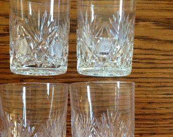 Cut Crystal Glass Tumblers Set of 4