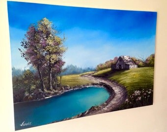 "Little Paradise Oil on Canvas ORIGINAL Painting 49x29.75"""