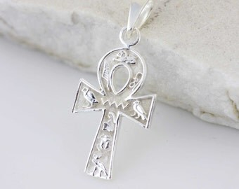 Sterling Silver Egypt Cross Necklace, Sterling Silver Egyptian Cross,  Silver pendant 925 Egyptian Cross, Silver Ankh Keychain Egyptian