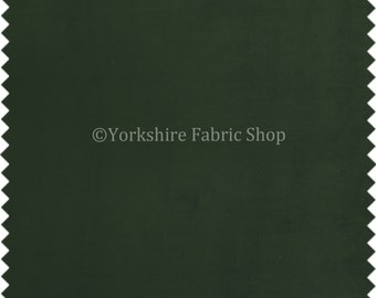 Plain Matt Soft Dark Green Velvet Fabric Moleskin Textured Upholstery Fabric Ideal For Interior Curtains Sofas Furniture - Sold By The Meter