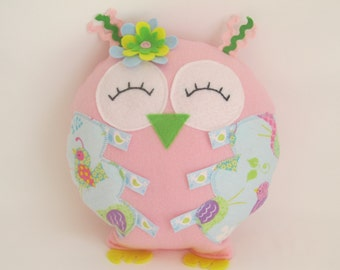 Whimsical owl, Stuffed Owl, Pink Plush Owl, Owl Decor, Owl Pillow, Nursery decor, Baby,  Pink owl pillow