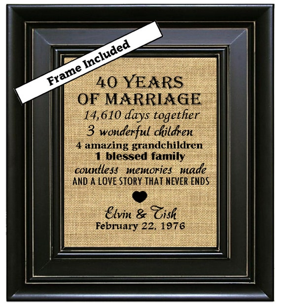 Wedding Anniversary Gifts For Parents 40 Years : Anniversary Gift/40 years of marriage/40th Wedding Anniversary Gift ...