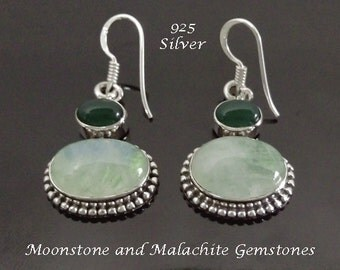 Earrings 109: Sterling Silver Earrings with Malachite and Moonstone Gemstones | Dangle Silver Earrings, Gemstone Earrings, Drop Earrings 109