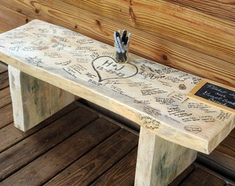 Wedding Bench - Heart with Names or initials *Guests sign!!!