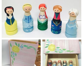 Princess peg doll set with story book box