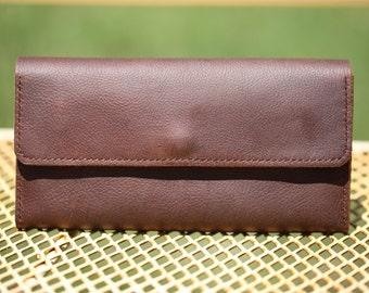 Leather clutch, kodiak leather long wallet, Leather travel wallet