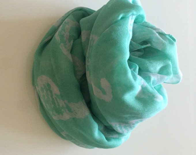Turquoise Scarf Lightweight Scarf Sky Blue Scarf Animal Print Scarf Turquoise Winter Scarf Seahorse Scarf Classic Scarf Sky Blue Shawl