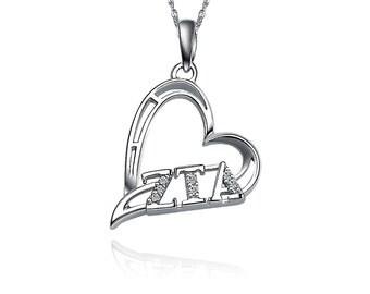 Zeta Tau Alpha Lavalier, Heart Shape Design, Sterling Silver (ZTA-P004)