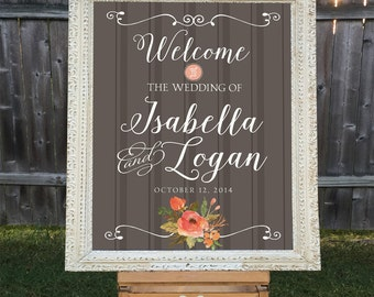 Printable Wedding Welcome Sign, Personalized Wedding Sign, Names and Date, Personalized Brown Striped Sign