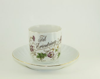Til Erindring, Til Erindring Cup and Saucer, Vintage Cup and Saucer, Danish Cup, Norwegian Cup, Hand Painted Tea Cup and Saucer