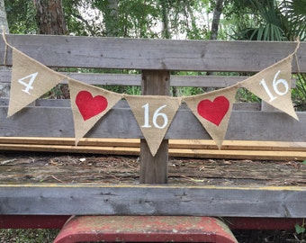 Special Date Save The Date Burlap Banner