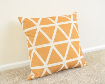 Mustard Yellow Triangle/Geometric/Scandi Print Cotton Linen Cushion/Pillow Cover 18 x 18""