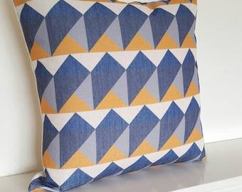 """Blue/Yellow/Grey Geometric/Scandinavian Cotton Linen Cushion Cover 18 x 18"""""""