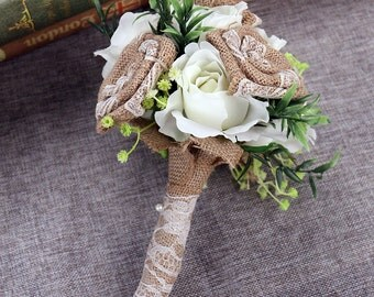 Handmade Burlap Wedding Bouquet Roses with Artificial Pearl and Lace Bridesmaid Toss Bouquet, #BB02