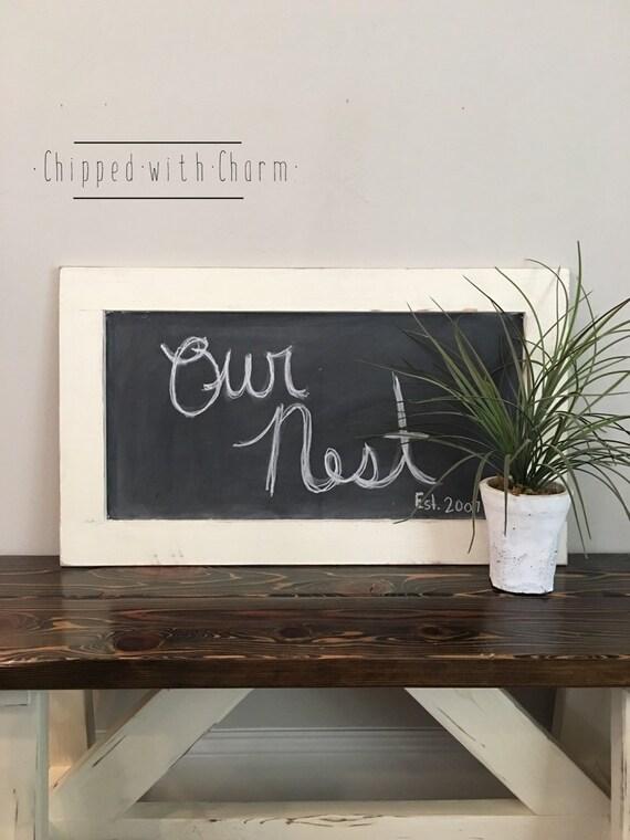 Items similar to Farmhouse Chalkboard White Wedding Chalkboard Framed Chalk