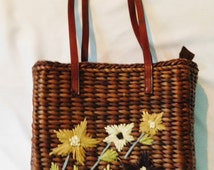 Vintage Brown Straw Purse with Flowers on Front