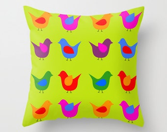 Scandinavian birds green pillow with insert-Mid Century modern pillow-Pop art pillow-Cool Retro pillow-Birds 16x16 pillow-24x24-18x18-20x20