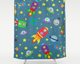 Space rockets shower curtain-Kids shower curtain-Planets curtain-Cool blue curtain-Kids gift-kids bathroom-Modern Curtain-Colourful bath
