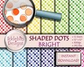 Brillant repéré numérique papier Pack, « SHADED DOTS » pour Scrapbooking, papier pastel, polka dot numérique, lumineux numérique papier, Design #94