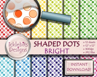 """Bright Spotted Digital Paper Pack, """"SHADED DOTS"""" For Scrapbooking, pastel paper, polka dot digital paper, bright digital paper, Design #94"""