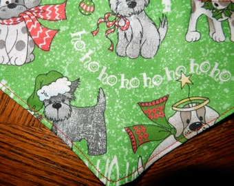 dog Christmas bandana green reversible tie on bandana in small extra small medium large and extra large