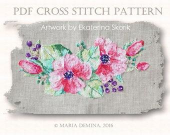 Watercolor Flowers PDF cross stitch pattern / instant download