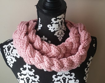Cowl, Crochet, Winter Scarf, Crochet Braids, Celtic Collar, Braided Collar, Neckwarmer, Neck Warmer, Handmade, Pink