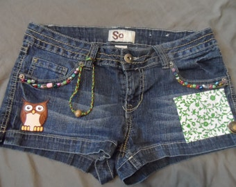 Upcycled blue jean shorts beaded pockets with owl patch