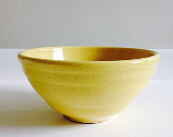Little yellow vintage bowl, yellow ceramic mixing bowl, yellow glazed pottery bowl, farm house bowl