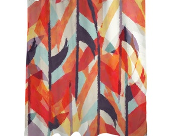 "Shower Curtain/ Aztec Watercolor Orange Design / Bath Curtain/ Bold/   Standard Length (71""x74"")"