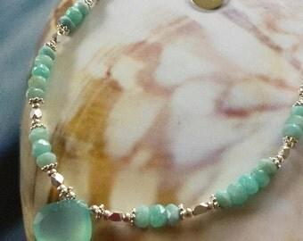 Larimar Amazonite Sea Foam Chalcedony necklace Blue ocean necklace Sterling silver necklace