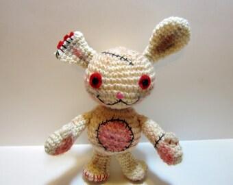 Dirty Bunny Crochet Doll - Amigurumi Bunny Toy - FrankenBunny Zombie OOAK Plushie