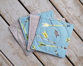 Arrow Fabric Coasters / Blue and Grey Home Decor / Alexander Henry Print/ Set of 4