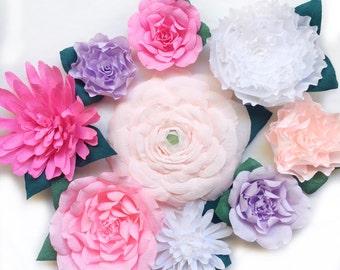 9 Piece Paper Wall Flower Set-Crepe Paper Flowers-Giant Paper Flowers-Floral Nursery Decor-Flower Wall Art-Dessert Table Backdrop