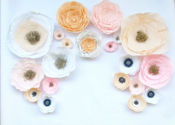 Crepe paper flower wall paper flower backdrop by for Crepe paper wall flowers