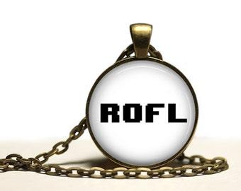 Gamer jewelry Rofl pendant Geek necklace