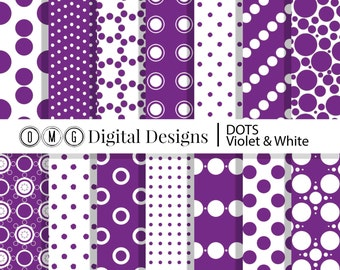 Violet Purple Polka Dot Digital Paper: Purple and White Printable Patterns, White and Purple Digital Paper, Purple and White Scrapbook Paper