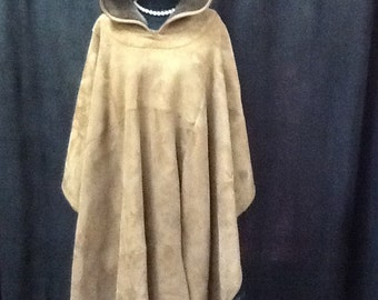 Shearling poncho with hood